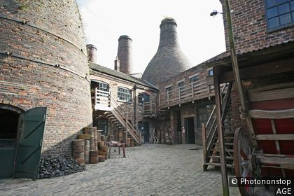 A view of the Gladstone Pottery Museum in Longton Stoke-on-Trent Staffs showing the bottle ovens or kilns