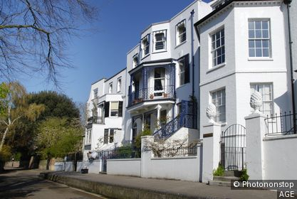 Elegant white houses at Riverside, Twickenham, London, England