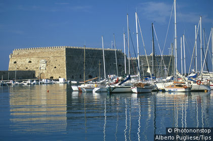 Greece, island of Crete, the Heraklion harbour and fortress