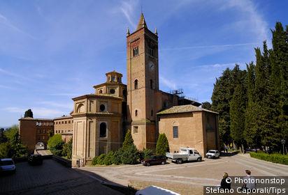 Italy, Tuscany, Asciano. Monte Oliveto Maggiore abbey.