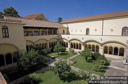 Italy, Campania, Benevento, Santa Sofia Church, cloister