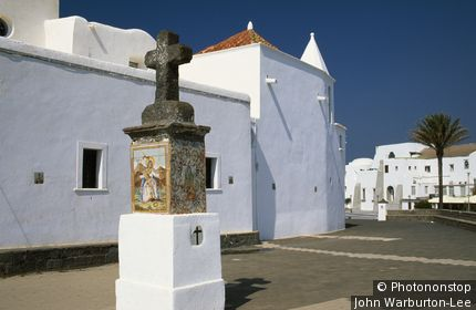 Italy;Campania;Ischia - The Chiesa Soccorso at Forio a landmark whitewashed church that protects the fishermen