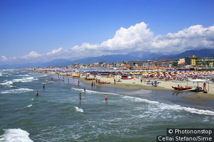 Italie, Toscane, Versilia, Lido di Camaiore, Zone Méditerranéenne, Méditerranée, Province de Lucca - Lido di Camaiore beach