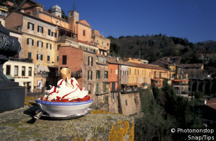 Lazio, Nemi. Cup of ice cream