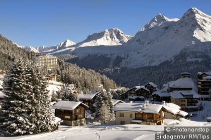 Small mountain village of Arosa a ski resort in Switzerland. Arosa is surrounded by mountains and is quite a famous Swiss ski resort.