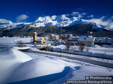 Switzerland / Graubünden / St Moritz / View of Sils Basegli,Engadin