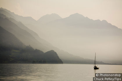 Switzerland, Brienz, Brienersee lake, sailboat