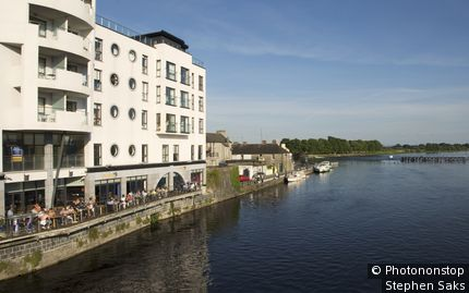 Apartments along the River Shannon. Athlone, Leinster,County Westmeath, Ireland,Republic of Ireland