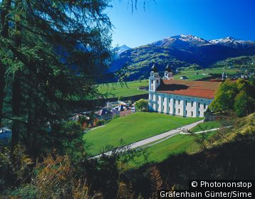 Suisse, Grisons, Alpes, View of Disentis and the church of the benedictine monastery, Vorderrheintal, Surselva