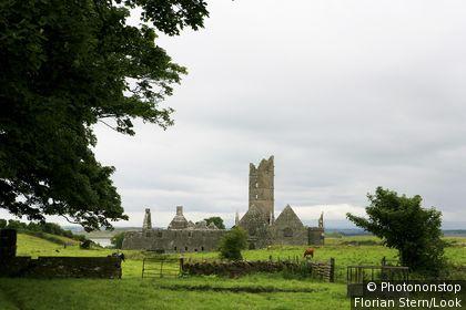 The ruins of the former gothic franciscan monastery Moyne Abbey under clouded sky, Killala Bay, County Sligo, Ireland, Europe