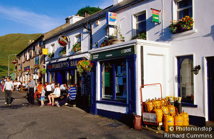 Ireland, Republic of Ireland, Connaught, Killary Harbour, Leenane village shops.