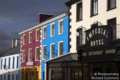 Ireland, Republic of Ireland, Munster, Lisdoonvarna, Shop fronts in Lisdoonvarna Town.