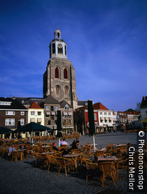 Netherlands, North Brabant, Old town square and clock tower of Bergen Op Zoom.
