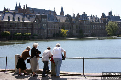 Vue sur Hofvijver depuis Haags Historisch Museum