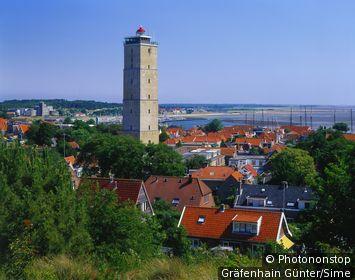 Pays-Bas, Holland-Septentrional, îles de la Frise Occidentale, West Terschelling, Benelux - Brandaris Lighthouse