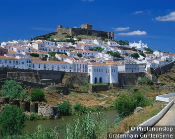Portugal , Beja, Mertola, Alentejo, View of the old town of Mertola on Guadiana River