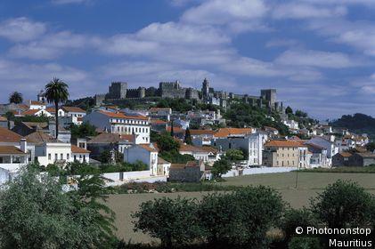 Portugal, Region Beira Alta, Montemor-o-Velho, Ortsansicht Provinz Beira Litoral, Distrikt Coimbra, Montemor Velho, Wohnhäuser, Festung, Kastell, Castelo, 11. Jh., Ruine