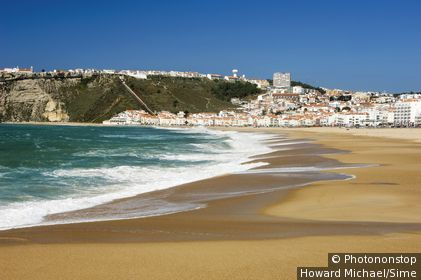Portugal , Leiria, Nazaré, Costa da Prata - Town and beach
