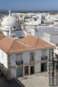 View over the town of Olhao, white houses and roofs, Olhao, Algarve, Portugal