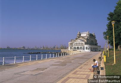 Romania, Constanta, Casino, sitting riparian promenade, tourist, no models release!, Black sea coast, Dobrudscha, city, buildings, Art-nouveau-Bauwerk, style Art nouveau, built 1907-1910, Architect Daniel Renard, architecture, promenade, shores