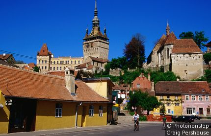 Romania, Eastern Europe, Sighisoara, Street scene, Transylvania.