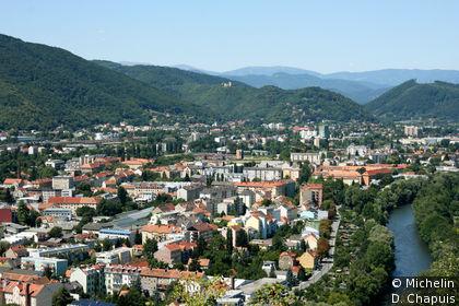 Vue sur le quartier nord-ouest de Graz, depuis Schloßberg