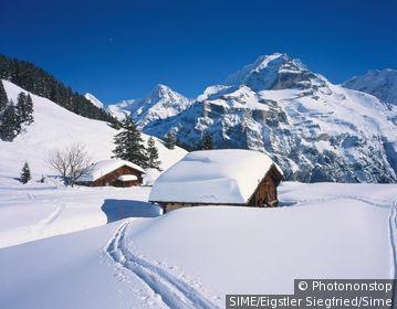 Switzerland / Canton Bern / Mürren / Berner Oberland,view from Blumental valley towards Mönch and Jungfrau mountains