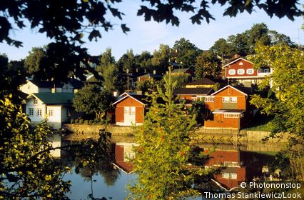 Storehouses at Porvoo in the light of the evening sun, Porvoo, Finland, Europe