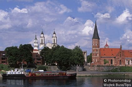 Lithuania,Kaunas,Nemunas river,Vystautas church, St. Francis church (Jesuit Monastery).