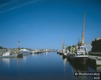 Lettland, Liepaja, Tirdzniecibas-Kanal, Schiffe Europa, Nordost-Europa