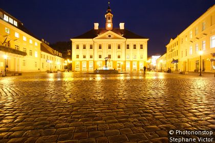 Estonia, Baltic, Tartu, Town Hall at night, from Raekoja Plats.