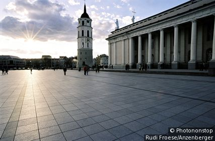 Katedros Square with the cathedral and the bell tower, Vilnius, Lithuania