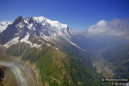 Vue aérienne du mont Blanc