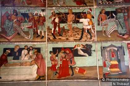 Frescoes inside Saint Sébastien Chapel in Lanslevillard