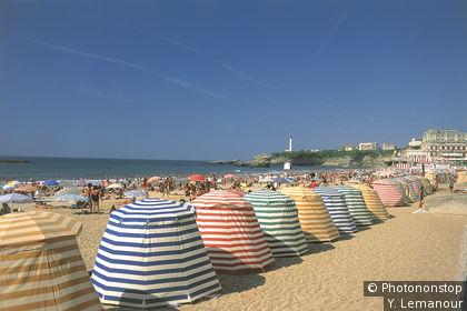 Cabines sur la plage de Biarritz