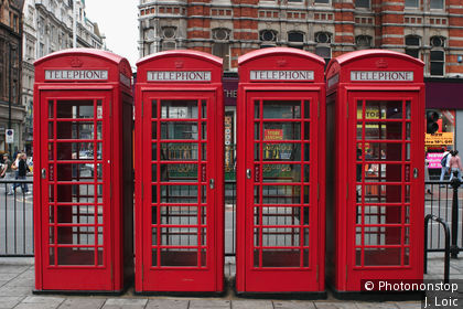 Tottenham Court Road, telephone boxes on Oxford Street