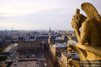 Una gargolla che ammira Parigi