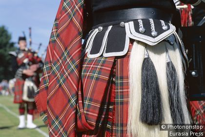 Highland Games / Detail of Kilt & Sporran & Bagpiper