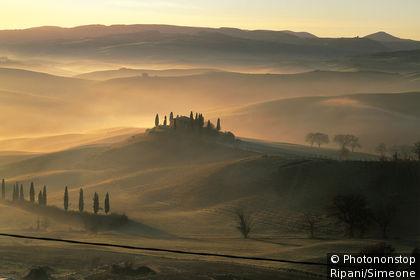 Misty Tuscan landscape