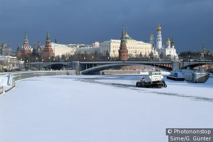 View of the frozen Moskova