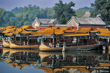 Traditional junks on Kunming Lake of the Summer Palace