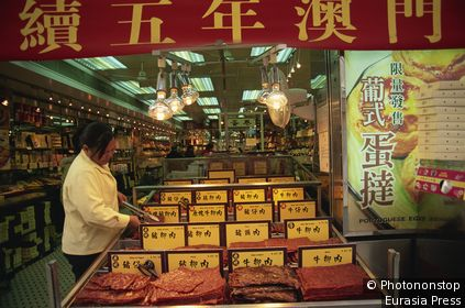 China,Macau,Typical Pressed Meat Display a Food Speciality of Macau
