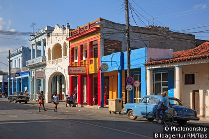 Colonial facades in the Calle Marti, city of Pinar del Rio in the southwest of Cuba