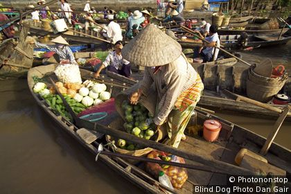 Vendors at Phong Dien floating market near Can Tho. Can Tho, Can Tho, Vietnam