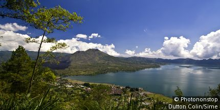 Panoramic view to Lake Batur and Gunung Batur from viewpoint Penelokan, Bali Indonesia