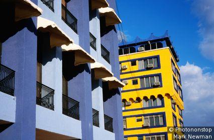 Colourful apartment blocks. Tuxtla Gutierrez, Chiapas, Mexico