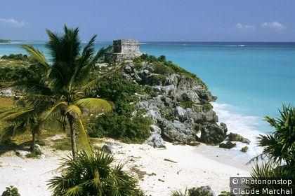 Mexique, Tulum, ruines en bord de mer