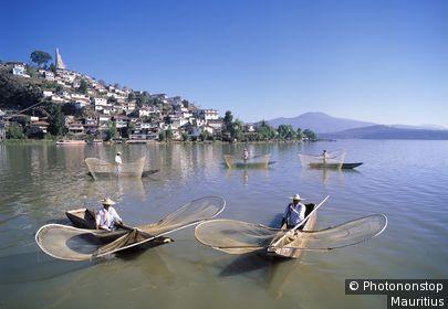 Mexiko, Michoacan State, Patzcuaro, Patzcuaro-See, Fischer Tarasken, Fischerboote, Boote, See, Lago, Tradition, Stadtansicht