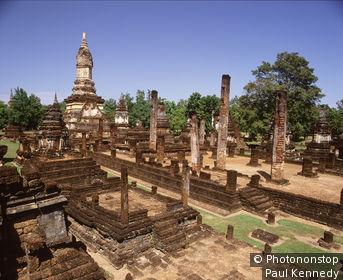 Ruins of Wat Chedi Chet Thaeo, Si Satchanalai,Thailand.