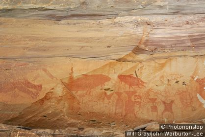 Prehistorical rock paintings at the rock cliff Pha Taem am Mekong, Province Ubon Ratchathani, Thailand, Asia